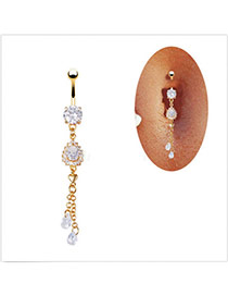 Elegant Gold Color Waterdrop Diamond Decorated Tassel Belly Button Ring