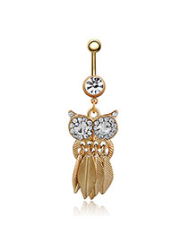 Cute Gold Color Owl Shape Pendant Decorated Tassel Belly Button Ring