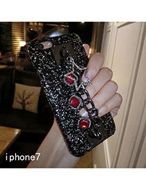Eleagnt Red Square Diamond&star Shape Decorated Paillette Iphone7 Case