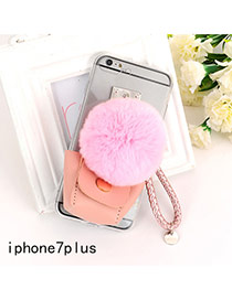 Sweet Pink Fuzzy Ball&bag Shape Decorated Transparent Iphone7plus Case