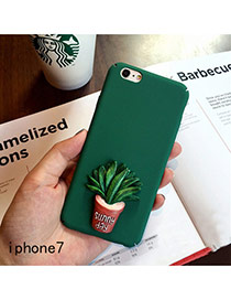 Cute Green Cactus Plants Decorated Pure Color Iphone7 Case