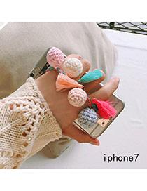 Eleagnt Multi-color Pelote&tassel Pendant Decorated Transparent Iphone7 Case
