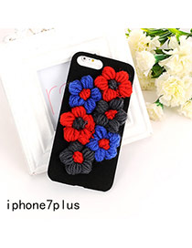 Cute Multi-color Flower Shape Decorated Pure Color Iphone7plus Case