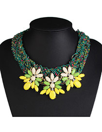 Bohemia Yellow Three Flower Shape Decorated Hand-woven Chain Necklace