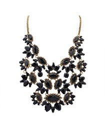 Vintage Black Geometric Shape Gemstone Decorated Hollow Out Necklace