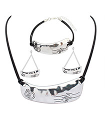 Elegant Silver Color Rings&hands Pattern Decorated Irregular Pendant Necklace