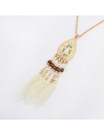 Fashion White Feather&drop Water Shape Pendant Decorated Simple Necklace