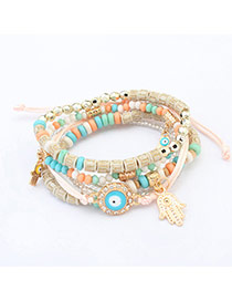 Cute Multi-color Hand&eye Shape Pendant Decorated Multilayer Bracelet