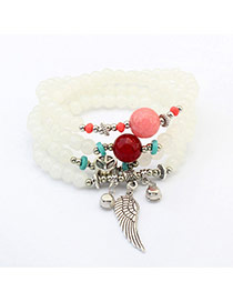 Cute White Wing Shape Pendant Decorated Multilayer Bracelet