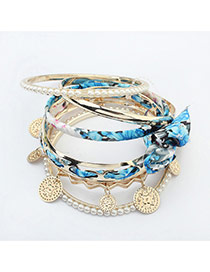 Bohemia Blue Metal Round Shape Pendabt Decoraetd Multilayer Bracelet