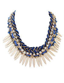 Personality Blue Leaf&diamond Decorated Hand-woven Short Chain Necklace