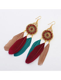 Fashion Multi-color Three Feather Pendant Decorated Tassel Earring