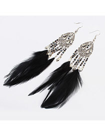 Fashion Black Beads Weaving&feather Pendant Decorated Tassel Earring