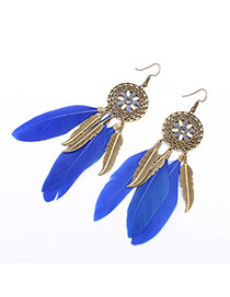 Fashion Blue Hollow Out Round Decorated Feather&leaf Tassel Earring