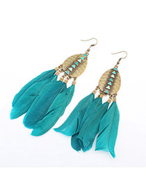 Fashion Green Rivet Decorated Feather Tassel Pendant Earring