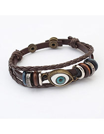 Cute Coffee Eye Shape Decorated Weaving Chain Bracelet