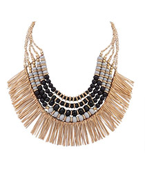 Fashion Gray+black Tassel Pendant Decorated Multi-layer Sector Shape Collar Necklace