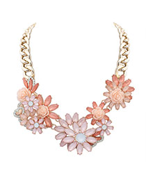 Elegant Pink Hollow Out Flower Decorated Short Chain Simple Necklace