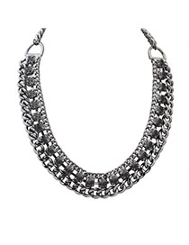 Fashion Black Square Shape Diamond Decorated Hollow Out Chain Necklace