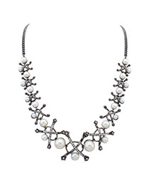 Fashion Silver Color Pearl Decorated Cross Shape Design Simple Necklace