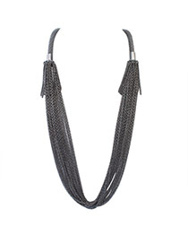 Exaggerate Black Pure Color Decorated Long Tassel Necklace