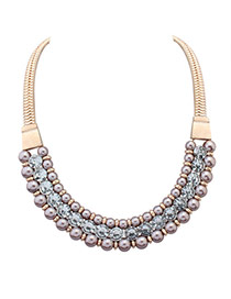 Elegant Purple Pearl&diamond Decorated Short Chain Necklace