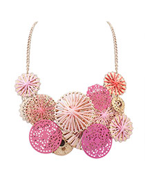 Cute Pink Hollow Out Round Shape Weaving Decorated Simple Necklace