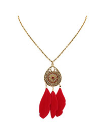 Fashion Red Feathers Pendant Decorated Hollow Out Water Drop Shape Necklace