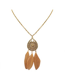 Fashion Yellow Feathers Pendant Decorated Hollow Out Water Drop Shape Necklace