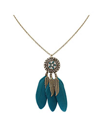 Fashion Green Feathers&leafs Pendant Decorated Hollow Out Round Shape Necklace