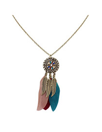 Fashion Multi-color Feathers&leafs Pendant Decorated Hollow Out Round Shape Necklace