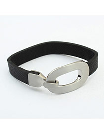 Fashion Black Metal Buckle Decorated Simple Design Pure Color Bracelet