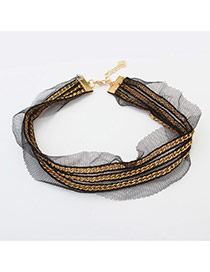 Vintage Black+gold Color Multi-layer Chain Decorated Simple Lace Choker