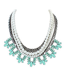 Fashion Light Blue Oval Shape Diamond&pearls Decorated Multi-layer Necklace
