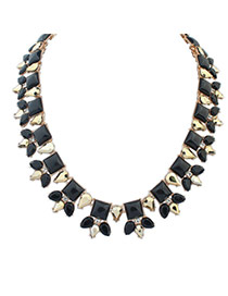 Trendy Black+gold Color Geometric Shape Gemstone Decorated Short Chain Necklace