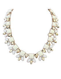 Elegant White+gold Color Geometric Shape Gemstone Decorated Short Chain Necklace