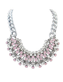 Exquisite Pink+silver Color Diamond Decorated Multilayer Short Chain Necklace