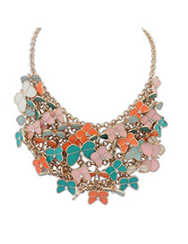 Delicate Multi-color Butterfly Shape Decorated Multilayer Simple Necklace
