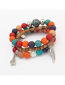Vintage Multi-color Wing&eiffel Tower Shape Pendant Decorated Multilayer Bracelet