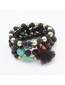 Vintage Black Tassel Pendant Decorated Multilayer Bracelet