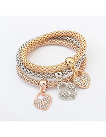 Fashion Multi-color Heart Shape Pendant Decorated Color Matching Multi-layer Bracelet