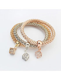 Fashion Multi-color Square Shape Pendant Decorated Color Matching Multi-layer Bracelet