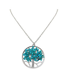 Fashion Green Irregular Shape Diamond Decorated Hollow Out Design Simple Necklace