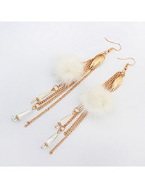 Bohemia White Feather &metal Leaf Decorated Tassel Earrings