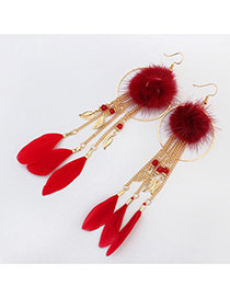 Trendy Claret-red Feather&round Shape Decorated Tassel Earrings