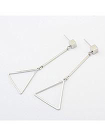 Fashion Silver Color Triangle Shape Decorated Pure Color Earrings
