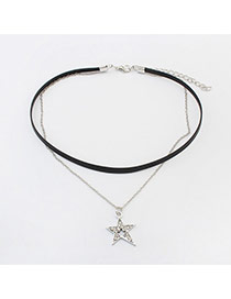 Vintage Silver Color Metal Star Pendant Decorated Double Layer Choker