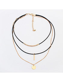 Vintage Gold Color Metal Round Shape Pendant Decorated Multilayer Choker