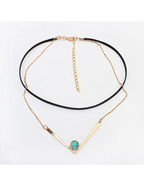 Fashion Gold Color +green Round Shape Decorated Double Layer Simple Choker