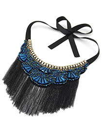 Vintage Black+dark Blue Long Tassel Pendant Decorated Irregular Shape Simple Collar Necklace
